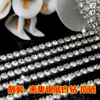 Wholesale 2015 Bulk Golden Silver color intensive rhinestone crystal glass Claw chains for women dress
