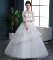 balls contracting - 2016 The New Spring Neat Wedding Dresses Show Thin Shoulders Sleeve Lace Flowers In Korean Contracted Tail Wedding Dress a1152