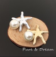 artificial starfish - Chic Cute Clear Artificial Metal Flatback Wedding Buttons Handmade Alloy Rhinestone Pearl Shell starfish Buttons