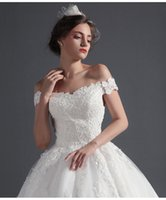 Wholesale 2016 Lace Wedding Dresses A Line Off Shoulder Illusion Backless Lace Up Sleeveless Sequins Court Train Bridal Gowns