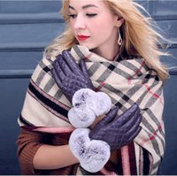 beaver rabbit - Lady leather gloves beaver rabbit wool winter warm mouth fashion gloves PU ling driving gloves ride thin in touch screen gloves