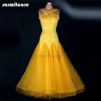 ballroom tango dress - D121 Customized Dress Bright Yellow Sleeveless Ballroom Dancing Dress for Women Real Feathers Shinning Rhinestones Waltz Tango Dress