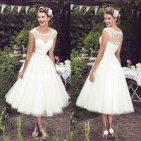 Wholesale 2016 Vintage Ivory Lace Wedding Dresses Tea Length Illusion Neckline Capped Sleeves Custom Plus Size Summer Bridal Gowns Cheap
