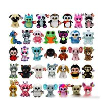 beanie boo cats - 35 Design Ty Beanie Boos Plush Stuffed Toys cm Big Eyes Animals Soft Dolls for Kids Birthday Gifts ty toys K8205 BJ