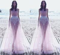 beach pictures bikini - 2017 Sexy Illusion Pink Evening Dresses Jewel Neck Sleeveless Flowers Tulle Floor Length Beach Bikini Prom Dresses