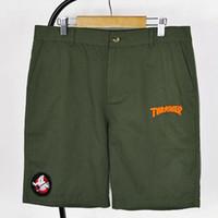 Wholesale Summer Men Brand Thrasher men s Shorts casual Sport Shorts homme Skateboard Hip Hop Short pants beach surf bermuda solid color