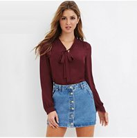Wholesale Spring Autumn Women Long Sleeve Bow Tie V Neck Office Work Wear Business Chiffon Casual Loose Blouse Tops Shirt