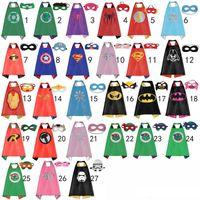 Wholesale 70 CM Double Side Kids Superhero Capes with Masks Batman Spiderman Ninja Turtles Captain America for Kids Halloween Party clothes A9322