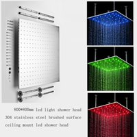 Wholesale Big size ceiling shower head with led light sus Brushed rainfall water power led ceiling shower head