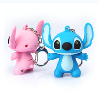 animations sounds - cute Lilo Stitch sound light keychains flashlight sound ring cartoon toys animation Stitch keychains child gift pendant hot style