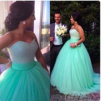 Ball Gown ball gowns china - Custom Made Beaded Ball Gown Sweetheart Cheap Long Prom Dresses Plus Size Beaded Tulle Party Evening Dresses China