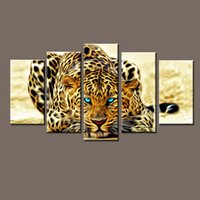 animal print cheetah - Modern Unframed Modular Paintings on Canvas Art Panel of Cheetah Leopard Piece Canvas Art Photo Wall Pictures for Living Room
