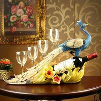 Wholesale Hot Club Hotel Villa Home Furnishing craft ornaments creative Wine frame peacock wine rack FA912
