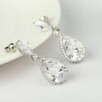 eau claire jade achat en gros de-Teemi Dinner Party Big Water Drop Earrings AAA Clear CZ Boucles d'oreilles en diamant pour femmes Bridal Wedding Dangle Earrings Wholesale