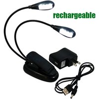 Wholesale DHL free LED Rechargeable Reading Lamp Music Stand Light Flexible Eye Care Dimmable Clip Light with USB Cord