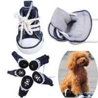 Wholesale Hight Quality Fashion Pet Dog Puppy Sporty Cloth Canvas Shoes Boots Dark Blue BS