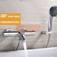 bathtubs and showers - In wall bathroom bathtub brass material thermostatic control shower bath faucet valve with handle spray shower and accessories
