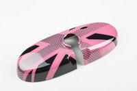 Wholesale 2014 Latest Mini Cooper ABS Material UV Protected Pink Union Jack Style Interior Mirror Cover For mini cooper F56 Set