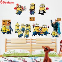Wholesale despicable me minion movie decals zooyoo1404 diy removable cartoon wall stickers home decor arts kids nursery gifts