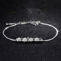 Wholesale 12Pcs Hot Sale Pretty Double Chain Beads Anklets Party Wedding Trendy Fashion Jewelry Sterling Silver Women Anklet Brand Style