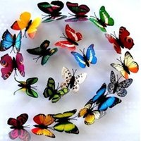 Wholesale 10pcs D butterfly Luminous stickers with Magnet Simulation Fridge Magnets wall sticker home decor Christmas Wedding Decoration