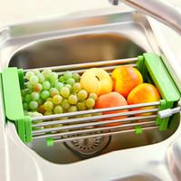 Wholesale Kitchen sink shelf bowl rack retractable drain rack