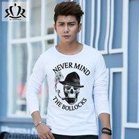 anti smoker - 2016 Hot Style Long sleeved T shirt Men s Cotton Round Collar Skeleton Smoker Printing Long Sleeve T shirt
