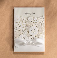 Wholesale pieces New Elegant Wedding Invitation Card White Flowers Laser Cutting Invitations With Personalized Inner Sheet CW5179