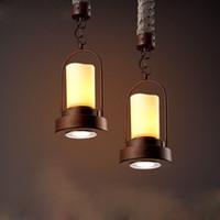 achat en gros de lampes suspendues en marbre-LOFT American Country Bar Pendant Lamp Vintage Coffee House Dinning Room Magasin de vêtements Fer Art Balcon Marbre Special Lighting Fixture