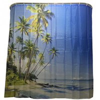 Wholesale 2016 Hot Sale New Fashion Seaview Palm Tree Summer Beach Polyester Shower Curtain With Hooks Bathroom Products