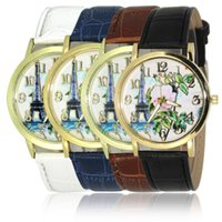 beautiful mens watch - Elegant Womens Watches Fashion Tower with Beautiful Flower Design Ladies Leather Watches Luminous Pointer Mens Luxury Watches Student Watch