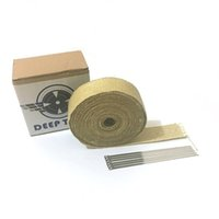 Wholesale 2 quot x Deeptech Fiberglass Motorcycle Exhaust Heat Wrap With Vermiculite With Stainless Steel Ties Kit