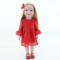 adorable doll clothes - Realistic inch Vinyl Girl Doll Adorable Alive American Baby Doll Toy With Beauty Red Lace Dress Clothes Kids Gift