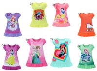 venda por atacado summer pajamas-Crianças verão pijamas Elsa Anna Sofia Neve Branco / Minnie / meu pequeno pônei crianças pijamas poliéster nightgowns sleepwear roupas