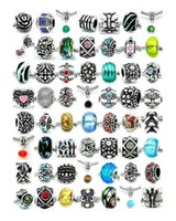 Wholesale 925 Silver Pandora Bracelets Mix Big Hole Beads Crystal Loose Beads Charms For Diy European Necklace Snake Bracelet Chain