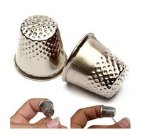 Wholesale New Silver Finger Thimble Sewing Grip Metal Shield Protector Pin Needle Sewing Machine Handworking Tools