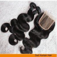 Extensiones peruanas sin procesar del pelo de la Virgen 9A, 2 paquetes Tejido del pelo con 1 paquete 4x3.5 encierro del cordón tres porciones, onda del cuerpo, envío libre
