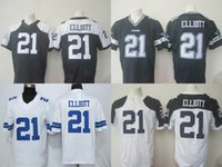 Wholesale 2016 Draft Men s DC Elliott White Blue Dark Blue Football Jerseys Good Quality