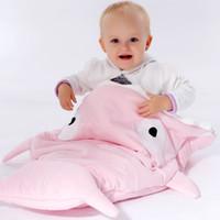Wholesale Cute Shark Sleeping Bag Quilts For Newborn Baby Boys Girls Cotton Animals Envelope Blanket Wrap Nursery Bedding