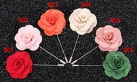 Wholesale Fashion Camellia flower Brooches for Men Suit Vintage Floral Lapel Pin Handmade flower Wedding Brooch Lapel Pins Newest colors