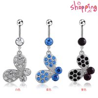 Wholesale 2016 fashion Flowers Butterfly Navel Belly Button Rings Body Piercings Pretty Violetta Rhinestone For Women piercing nombril body jewelry