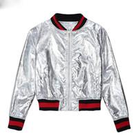 Wholesale Women Metallic Silver Contrast Striped Trims Patchwork Zip Up Baseball Bomber Jacket Pockets Long Sleeve Casual Basic Coats