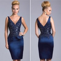 Cheap V Neck Backless Knee Length Prom Party Gowns Beaded Navy Blue Formal Mother Of Bride Plus Size Sexy Corset Short Cocktail Dresses 2016