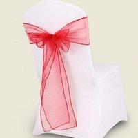 10pcs / lot 18 * Décorations 275cm Chair Cover Jupettes Organza Matériel Sash Soirée de Mariage Bow mariage Décor 18 Couleurs