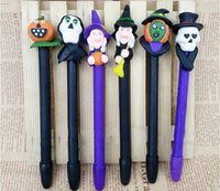 Wholesale New and Hot sale halloween design ballpoint pens mm black OPP bulk packing moldeling clay pens