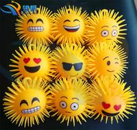 Wholesale New inch LED Emoji balls children toys luminous Soft Rubber led squishi ball toys cm C822