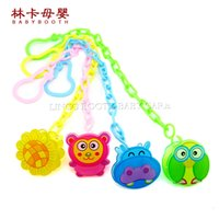 baby soother holders - 2016 Animal Cartoon Plastic Baby Pacifier Holder Clips Baby Pacifier Dummy Soother Holder Clips Baby Anti lost Chain