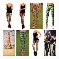 2016 Mode Femmes Leopard Camouflage Patterned Tight Sexy Leggings Élasticité Pieds pantalons Work Out Gold Adventure Time Girls Leggings
