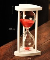 Wholesale White heart wood frame minutes transparent hourglass sandglass timer crafts as gift for Valentine s Day Birthday