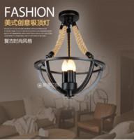 Wholesale American Vintage Loft Style Wrought Iron And Hemp Rope Ceiling Lights Aisle Lamp Foyer Bars Decoration Light